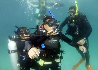 Student performs injured diver rescue drill during open water training for Smithsonian's Scientific Diver Course